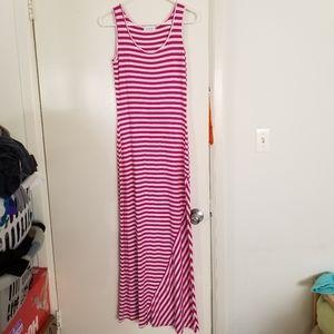 Calvin Klein Fuchsia/White Stripe Maxi Dress Sz 2